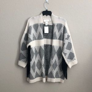 H&M Aztec fringed 3/4 sleeve cardigan sweater